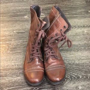 Brown leather combat boot style boots